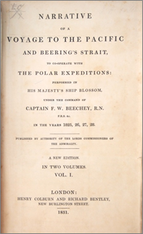 Cover of Narrative of a voyage to the Pacific and Beering's Strait, to co-operate with the Polar expeditions : performed in His Majesty's ship Blossom, under the command of Captain F. W. Beechey, in the years 1825, 26, 27, 28