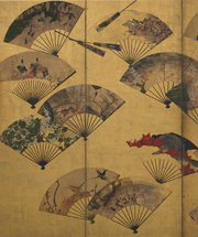 Photo of artwork titled Painted Fans Mounted on a Screen by Tawaraya Sotatsu
