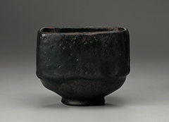 Photo of Black Raku tea bowl named Mukiguri