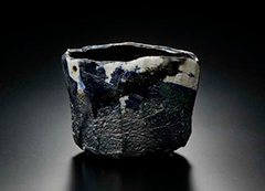 Photo of Black Raku tea bowl, Yakinuki type