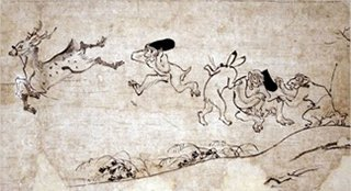Photo of Monkeys and Frogs, from Frolicking Animals (Chōjū giga)