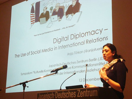 "Photo: Ms.Anja  TÜRKAN, Presenting about the ""Digital Diplomacy"""